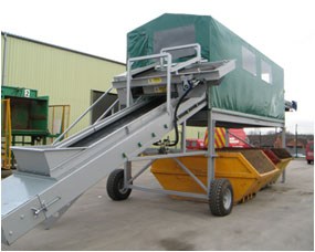Mobile or static waste picking stations from Haith - Mobile station pictured, with overband magnet on infeed belt