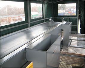 Picking stations, covered to protect staff from the elements